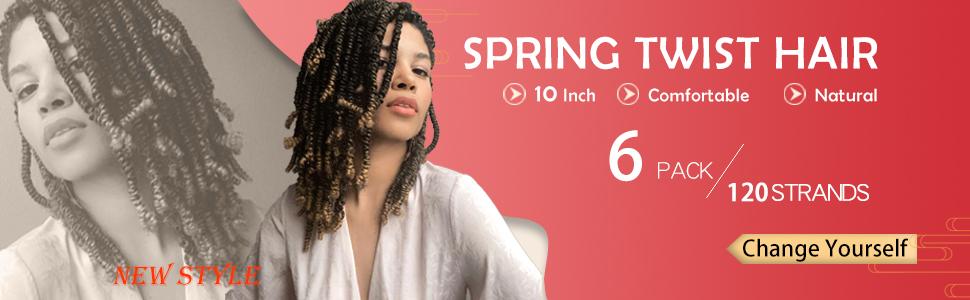 spring twist crochet braiding hair 10 inches