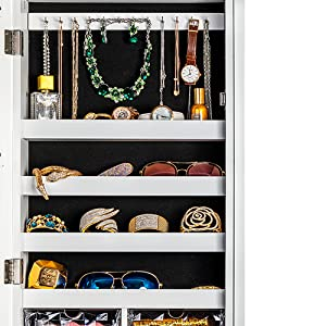 4 storage shelves and 12 hooks for bracelets jewelry cabinet shelves for storage