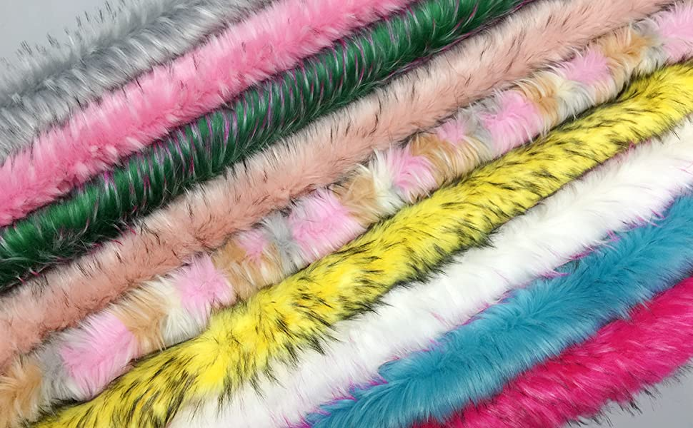 Black with White Tip-dyed Furryvalley Faux Fur Trim Raccon Fox Fur Ribbon Craft Furry Stripe for Slippers Slides Fringe 2 Yards
