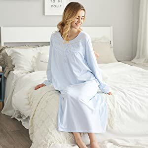 women nightgowns long sleeves