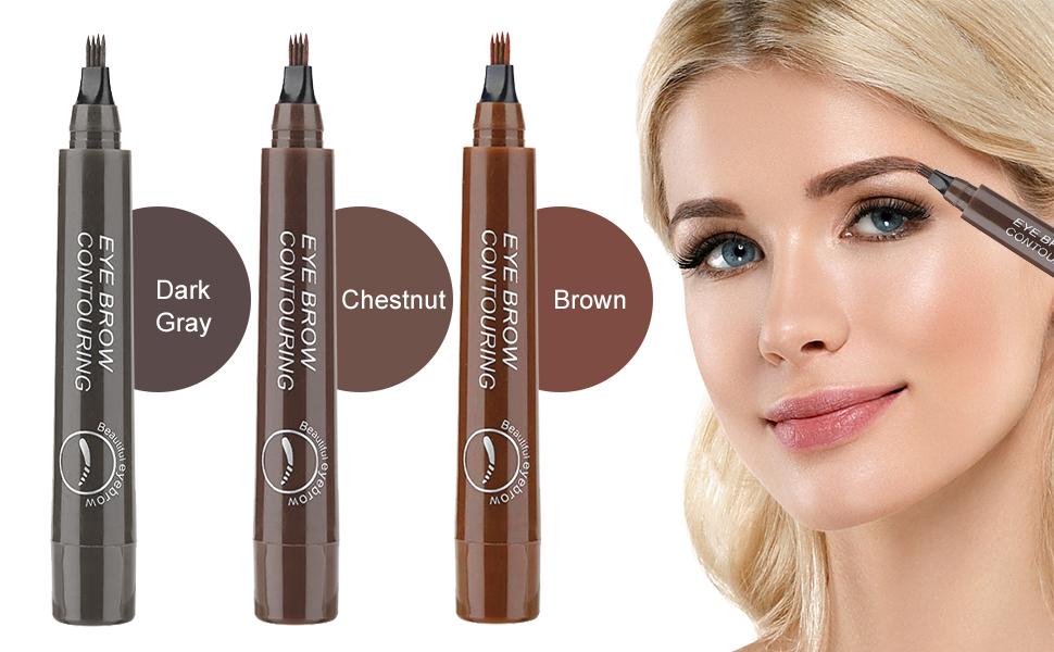Lapiz Cejas, Tattoo Eyebrow Pen, Impermeable Lápiz de Cejas, Tattoo Eyebrow Pen con cuatro puntas duraderas, larga duración, impermeable, a prueba de ...