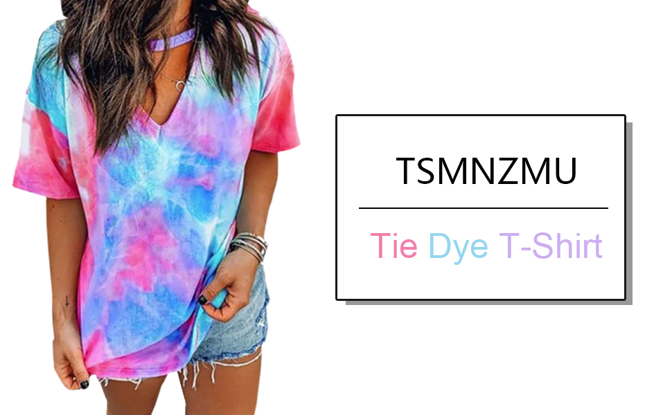 Red blue Tie Dye Shirts Tops