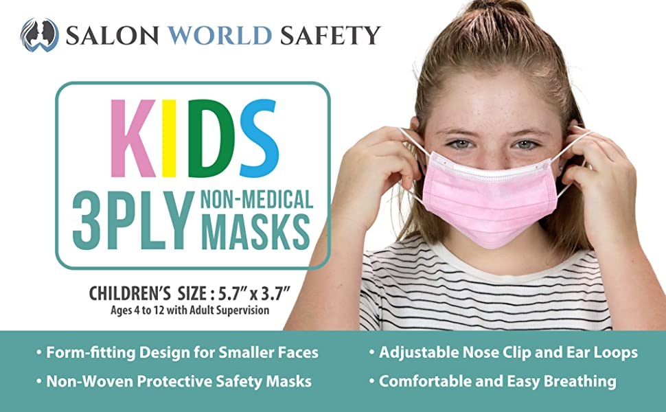 Kids Children 3 Ply Non-Medical Form Fitting Woven Safety Face Mask with Nose Clip and Ear Loops