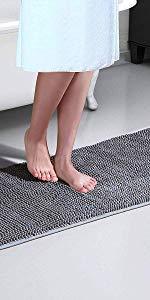 XIYUNTE extra long non-slip bathroom mat - soft chenille bath mat bathroom rug
