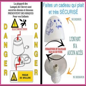 Lampe de Chevet Enfant Veilleuse Personnalisée Prénom - Chambre Bébé - Cadeau Naissance Sécurité
