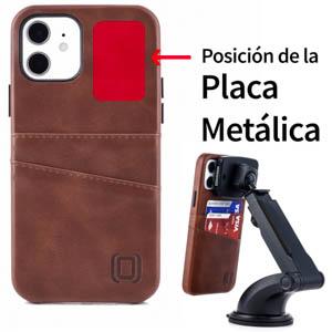 Dockem - Funda tipo cartera para iPhone 12 y iPhone 12 Pro (piel sintética, 2 ranuras), color marrón