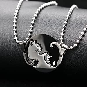 Fashionsupermarket His Queen Her King Handmade Bracelet,Yin Yang Cat Heart Puzzle Necklaces with Gift Bag