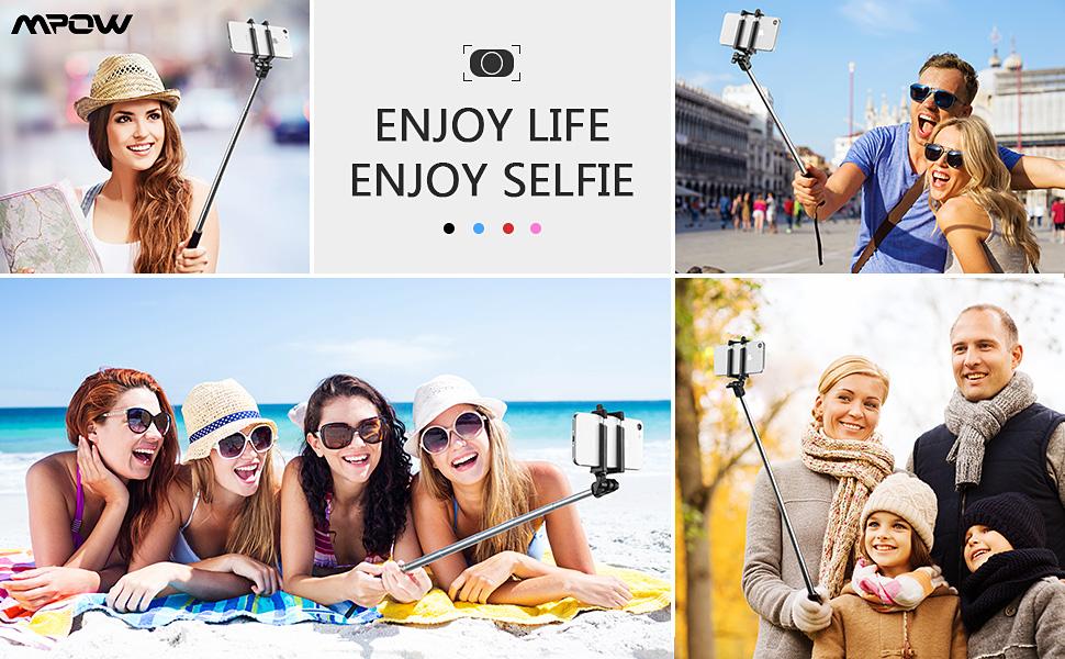 Mpow Perche Selfie Bluetooth, Ultra-Léger Mini Selfie Stick Monopode Extensiblede 31, 9 pouces