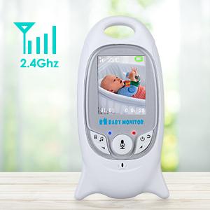 Mbuynow Baby Monitor per Bambino,Babyphone Display 2 Lcd Wireless Visione Notturna Citofono Videosorveglianza Telecamera Ricaricabile 200m Microfono Speaker Ninna nanna Temperatura Multifunzione