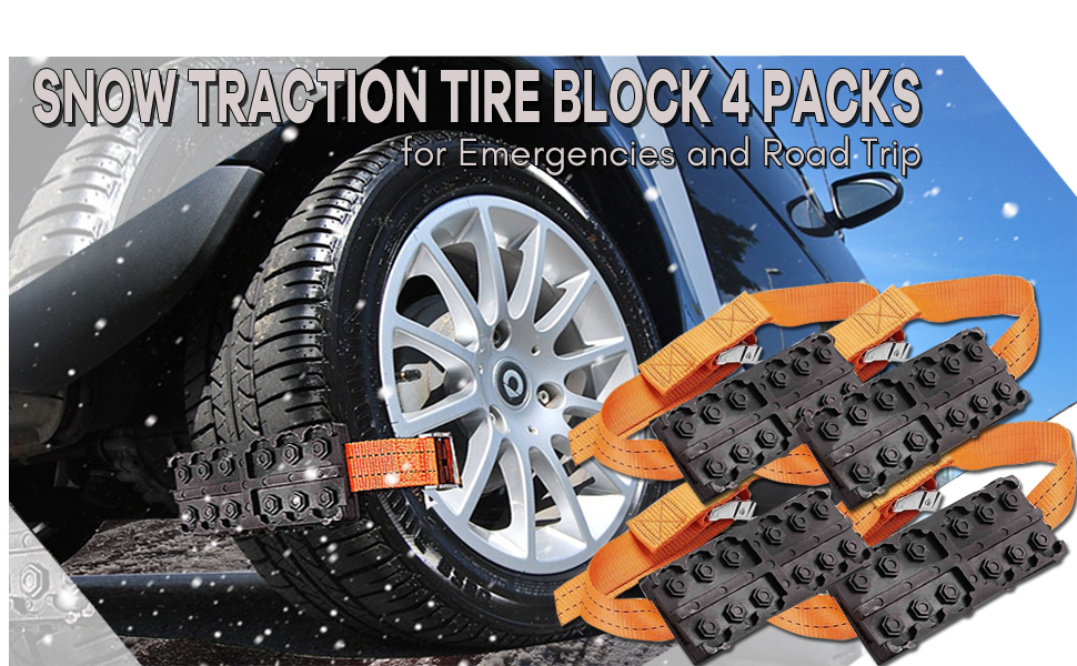 Zone Tech Vehicle Snow Traction Tire Block SUV and Pick Up Tire Blocks for Emergencies and Road Trip Premium Quality Strong Durable All Weather//Season Anti-Skid Car