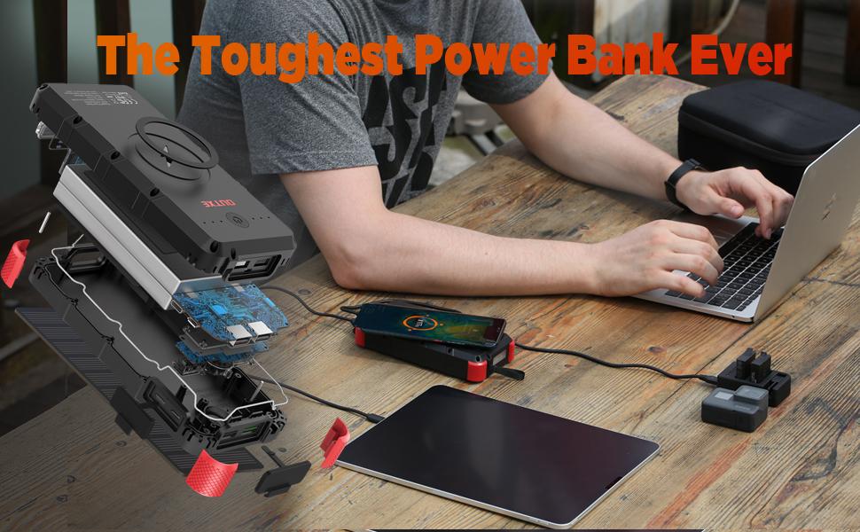 outxe wireless power bank solar 25000mah wateproof solar charger