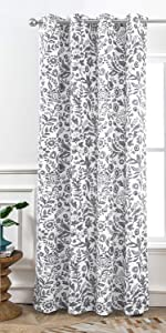 Julia watercolor floral window curtain 52 84 gray
