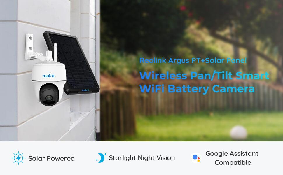 wireless pan tilt pt security camera solar powered