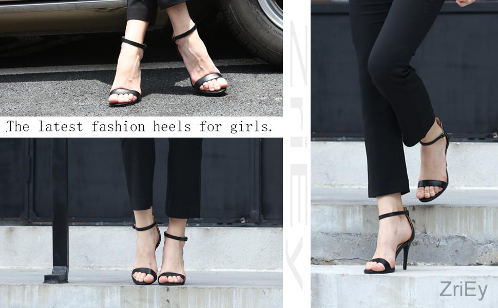 785afd7695b2b ZriEy Women's Heeled Sandals Ankle Strap High Heels 10CM Open Toe ...