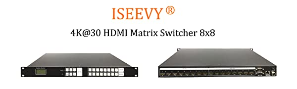ISEEVY 4x4 HDMI Matrix Switch with HDMI 4 in 4 Out Full Channels Support 4Kx2K@30Hz,1080P 3D@60Hz Blue-ray with Visual Buttons to Easiler Operation HDCP 1.4