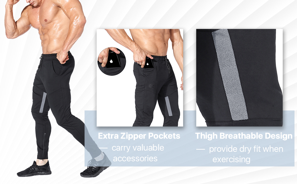 BROKIG Mens Thigh Mesh Gym Jogger Pants, Men's Casual Slim Fit Workout Bodybuilding Sweatpants