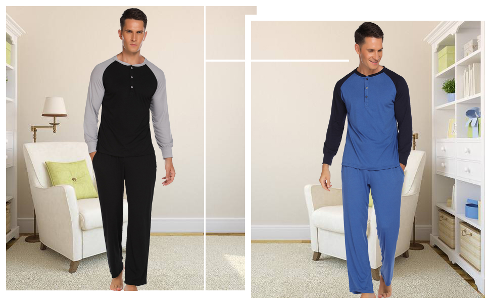 Ekouaer Sleepwear Men's Pajama Set Long Sleeve Sleep Top and Long Lounge Pants Soft Pjs Set S-XXL
