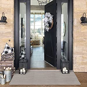 Hand-Woven Black and Cream Throw Rugs