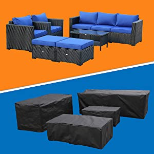Rattaner Patio Sectional Furniture Sofa Set 6 Pieces, Waterproof, Rust Resistant Furniture Cover
