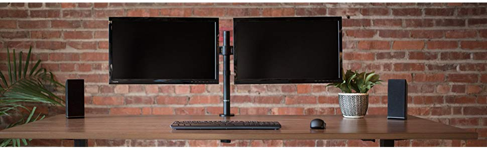 Steel dual monitor desk mount stand