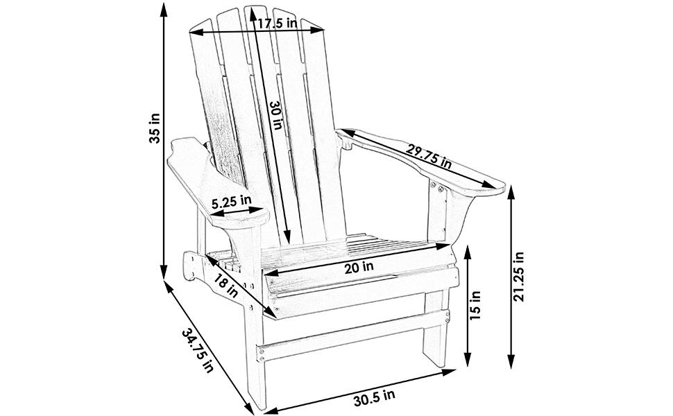 Sunnydaze Classic Outdoor Wooden Adirondack Patio Chair, Gray