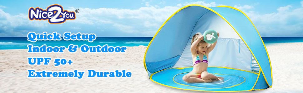 Kalavika Tienda de Playa Pop-up Beb/é Tienda de Campa/ña con Piscina Infantil Ni/ños Carpa Plegable Port/átil con Protecci/ón Solar Anti UV 50 para Vacaciones Playa Parque al Aire Libre