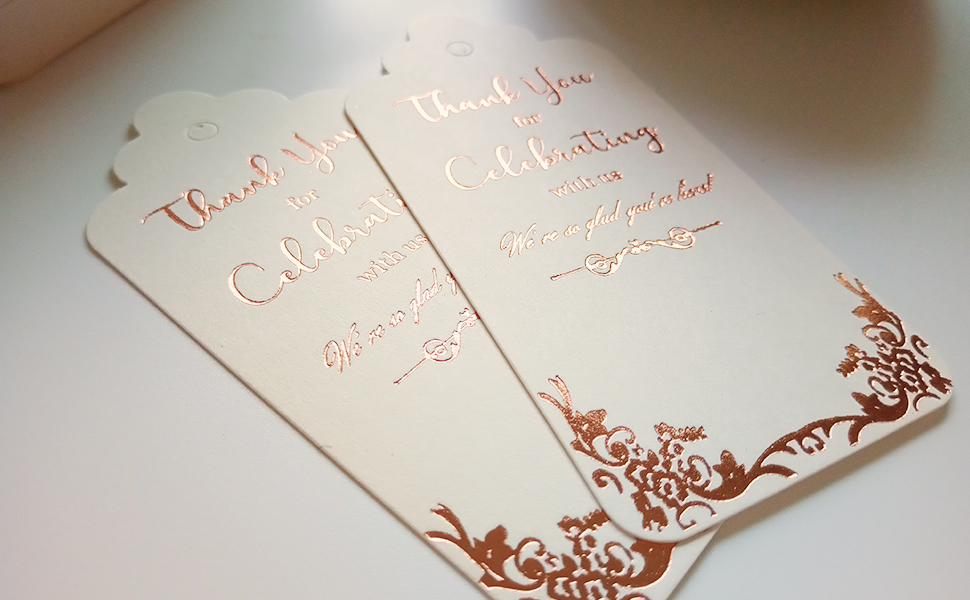 metalic rose gold foil printing tags white color thank you tags for party favors