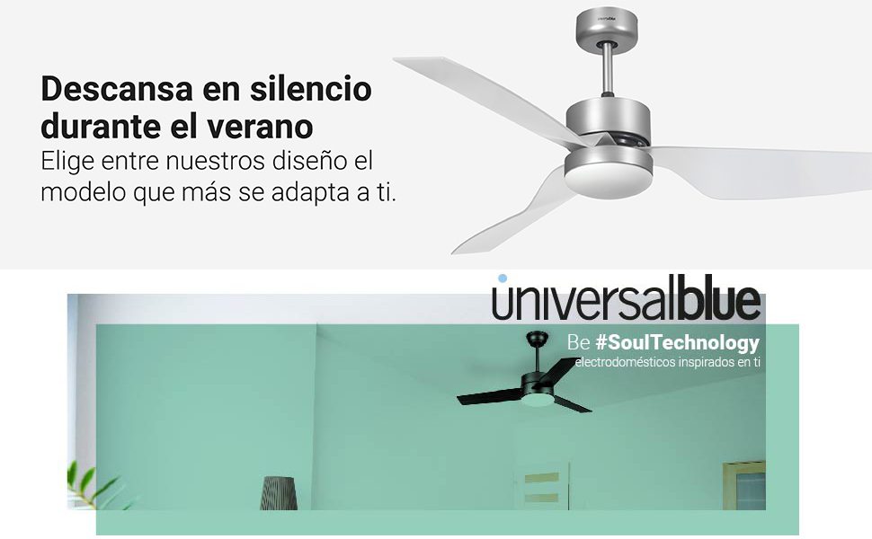 UNIVERSALBLUE | Ventilador de Techo INOX con aspas translúcidas ...