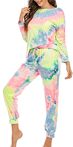 2 piece loungewear home stay pajama sets long sleeve tracksuits tshirt with pants sets tie dye sets