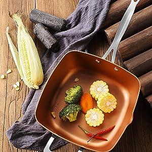 induction chip pan nonstick frying pan skillet bake  braise dishwasher oven safe copper cookware set