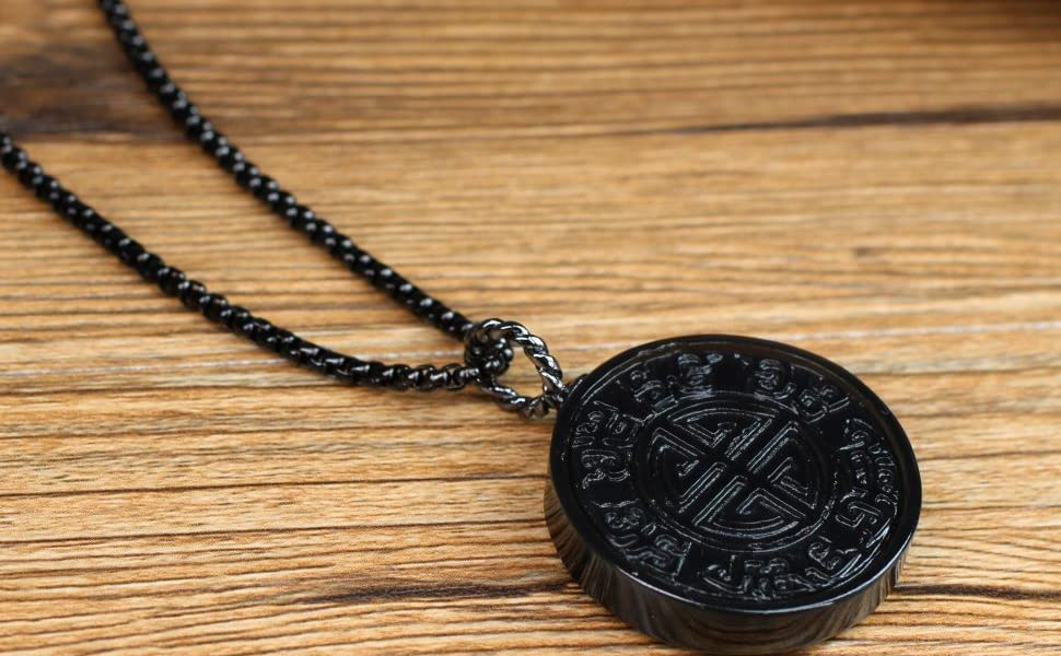 COAI Collar de Acero con Colgante Shou de Obsidiana: Amazon.es ...