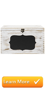 Whitewashed Wood Wedding Card Gift Box with Slotted Lid, Lock amp; Chalkboard Label