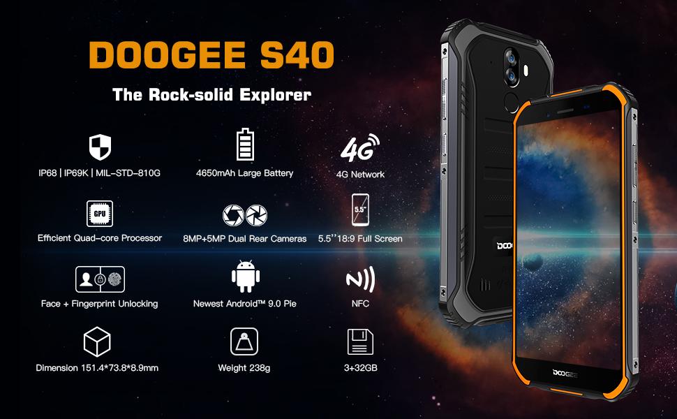DOOGEE S40 Telefonos Resistentes Dual SIM 4G Android 9.0 Teléfono Robusto, Móvil Libre Resistente IP68 Impermeable Smartphone, 3GB+32GB 4650mAh Batería, 8MP+5MP Cámara 5.5 HD Rugged Movil, Negro: Amazon.es: Electrónica