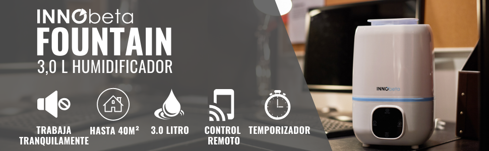 InnoBeta Fountain Humidificador Ultrasónica 3,0Litro Bebé de Vapor Frío con Control Remoto y Higrómetro, Minutero, Boquilla 360°, Apagado Automático, ...