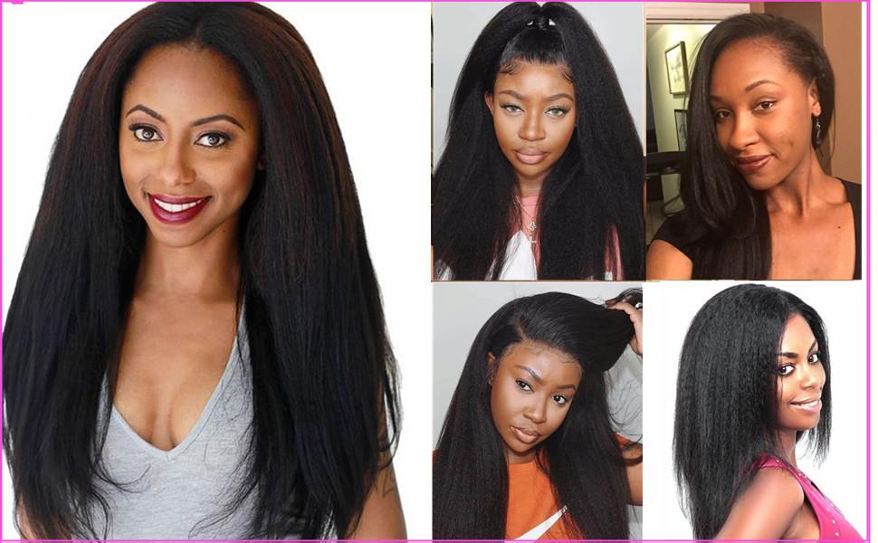 kinky straight clip hair customer show