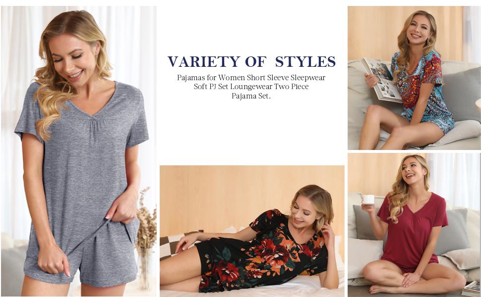 Women's V-neck Sleepwear Shorts Pajamas Set Floral Print Nightwear Pj Set