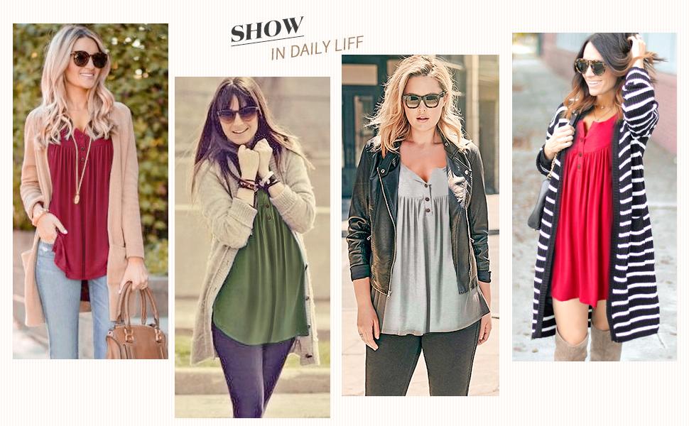 ladies long sleeve swing tops  loose summer tops for women