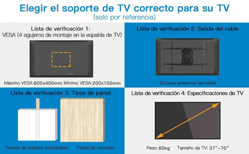 """Soporte de TV Pared Articulado Inclinable Y Giratorio – Soporte De TV para Pantallas De 37-70"""" TV – MAX VESA 600x400mm, para Soportar 60kg"""