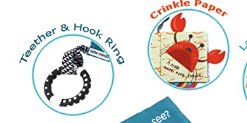 teether ring hook for stroller car seat play pen teething toy teething book crinkle baby book infant