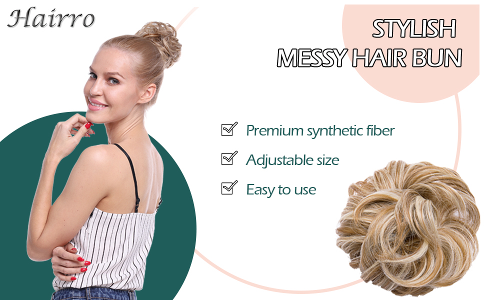 stylish messy hair bun is made with premium synthetic fiber, easy to use