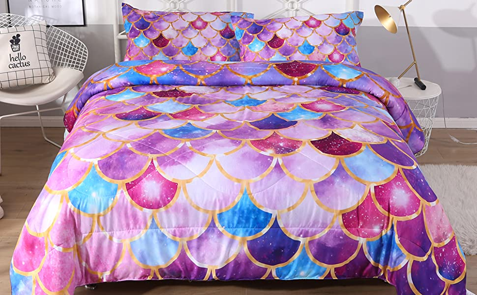 purple blue scale bedding comforter set queen size mermaid bedding quilt for teen girls fish scale