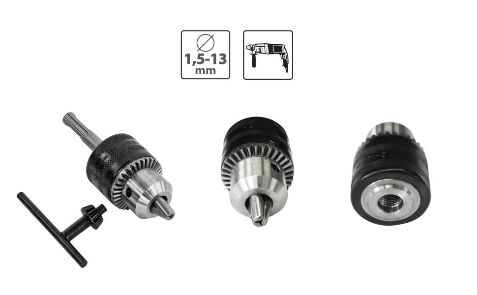 Mandrin Perceuse 1,5-13 mm 1//2-20 UNF avec adaptateur sds plus et cl/é de Serrage