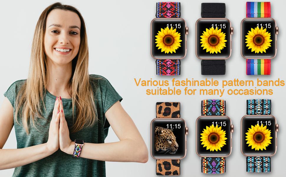 Cute Soft Nylon Scrunchies Stretchy Wristband Bracelet Stretch Elastic Loop Strap for iWatch