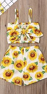 Sunflower Tube Top Shorts Set