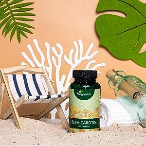 Betacaroteno Vegavero® | EL ÚNICO NATURAL: De Extracto De Zanahoria | Acelerador Bronceado + Protección de la Piel + Vista | Rico en Vitamina A + ...