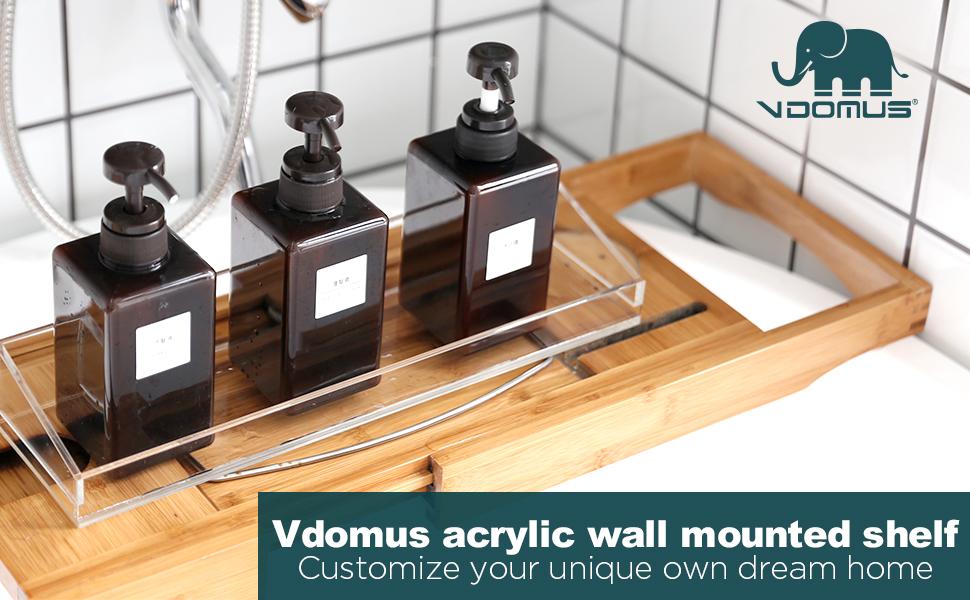Vdomus acrylic wall mounted shelf