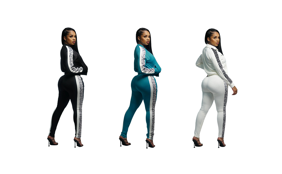 Women 2 Piece Outfits – Fall Track Suits Long Sleeve Crop Top Jogger Pants Snake Print Sweatsuits