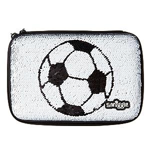 Smiggle Goal, estuche portalápices con tapa rígida, reversible y con lentejuelas para niñas y niños con divisores interiores para lápices | Con dibujos futbolísticos: Amazon.es: Oficina y papelería