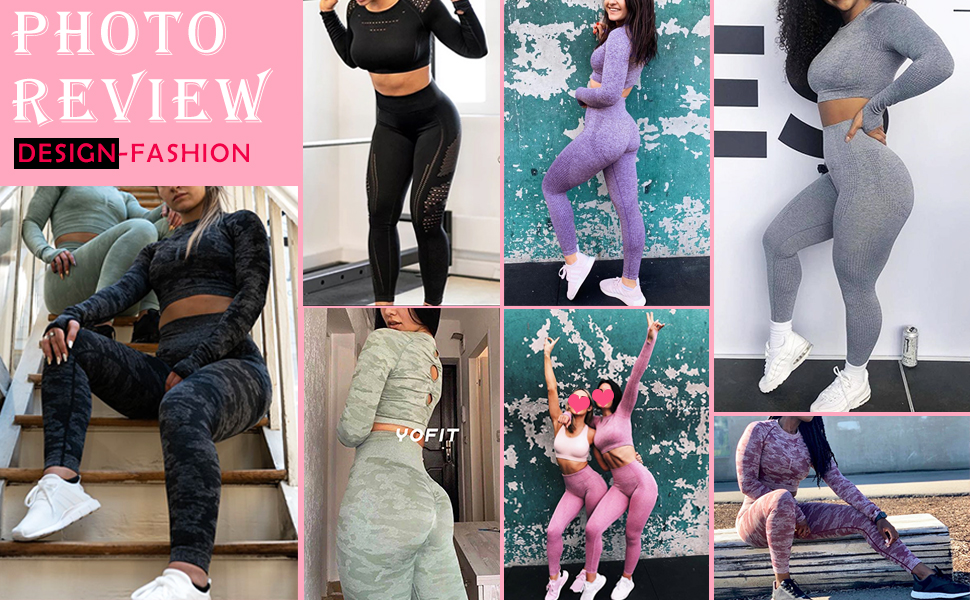 Exercise Outfits for Women 2 Pieces Yoga Outfits Gym Crop Top and Leggings Set Tracksuits 2 Piece