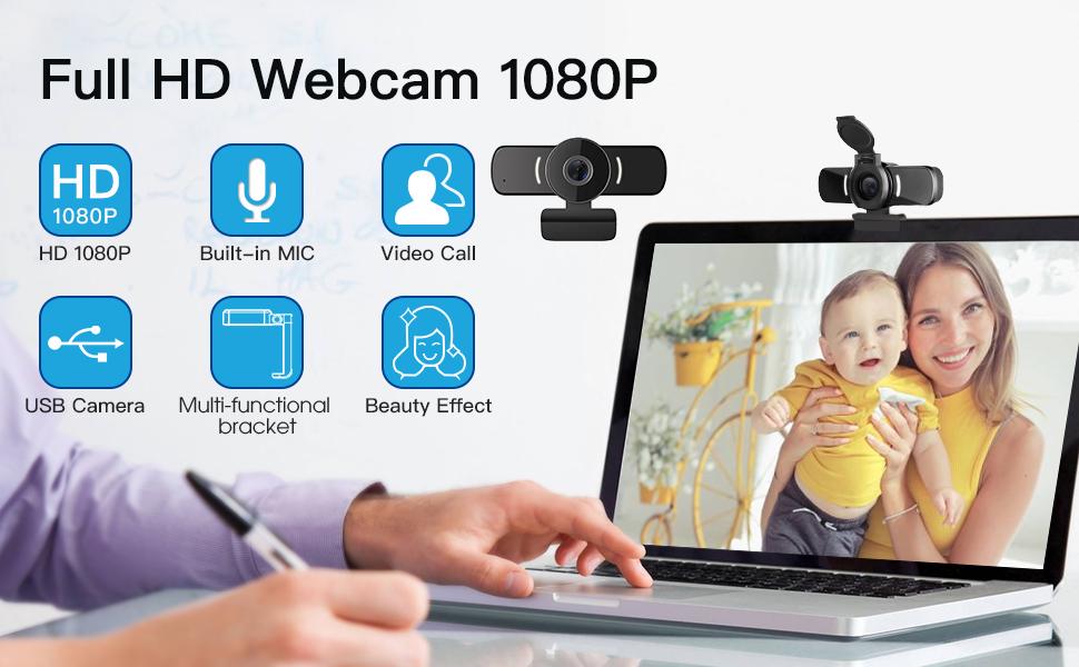 1080P Webcam with Webcam Cover